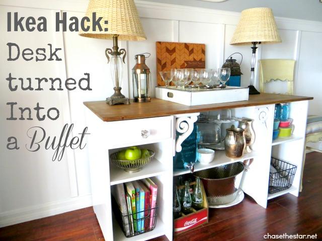 Ikea Hack Desk turned into a buffet via Chase the Star #ikea #desk #hack #buffet #diningRoom #console #sideboard