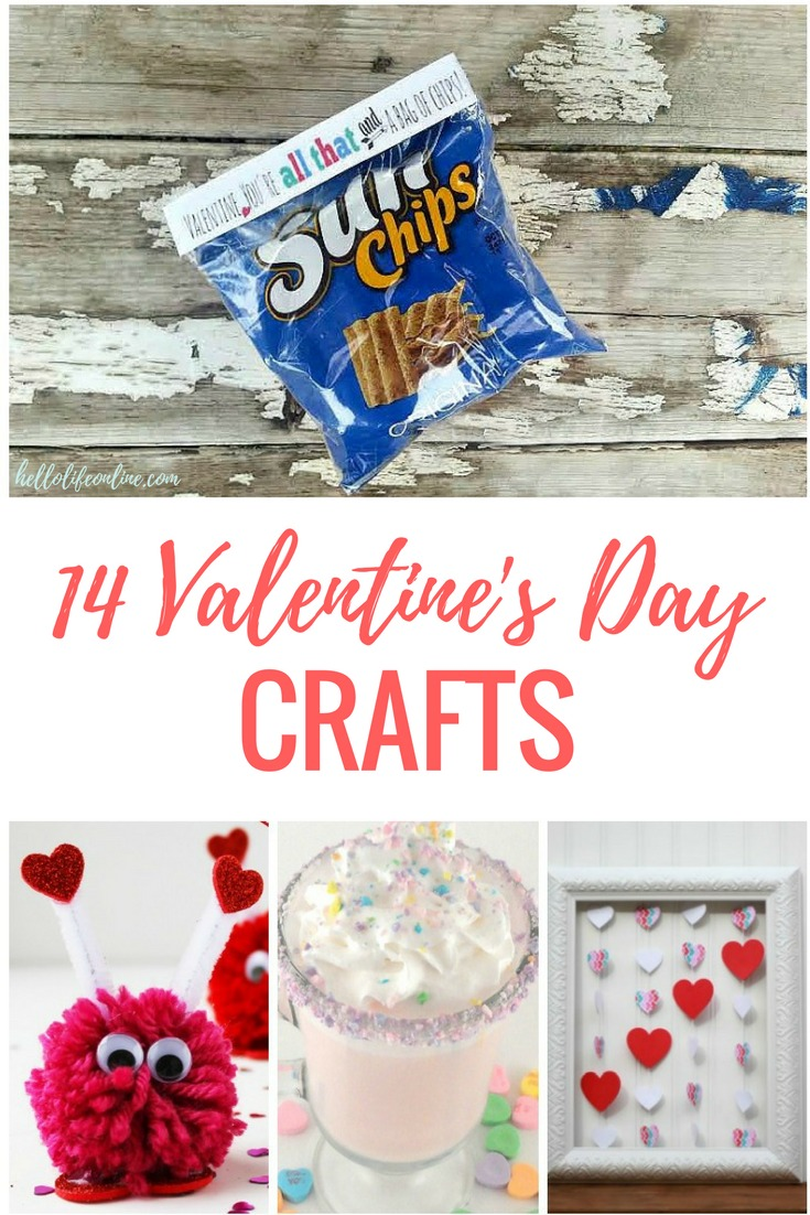 14 Valentine's Day Crafts- Valentine's Day crafts and decor ideas including mason jar gift for teachers, school decorations, and other DIY ideas!