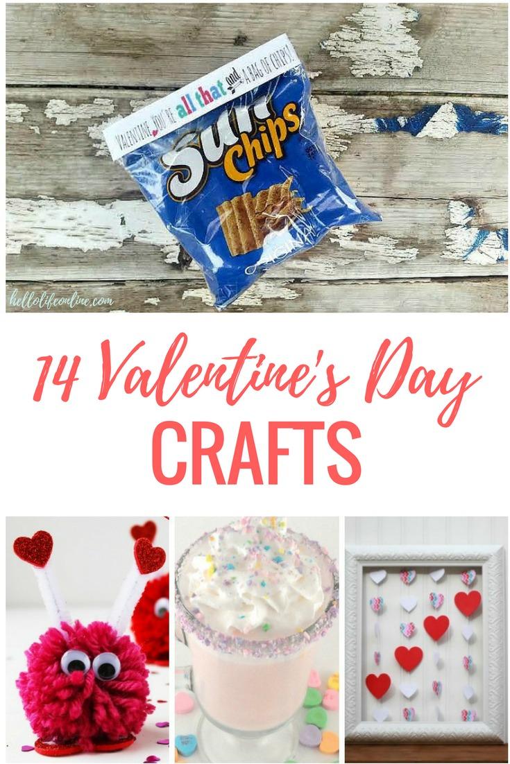 14 Valentine's Day Crafts- Valentine's Day crafts and decor ideas including mason jar gift for teachers, school decorations, and other DIY ideas!