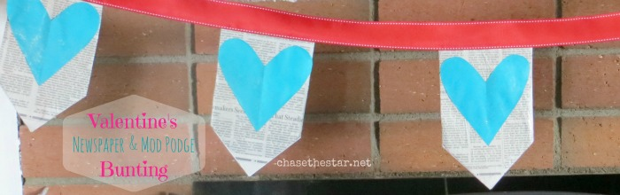 Valentines Banner, newspaper, mod podge, astrobrights