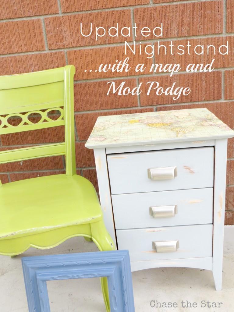 mod podge, nightstand, green chair, map
