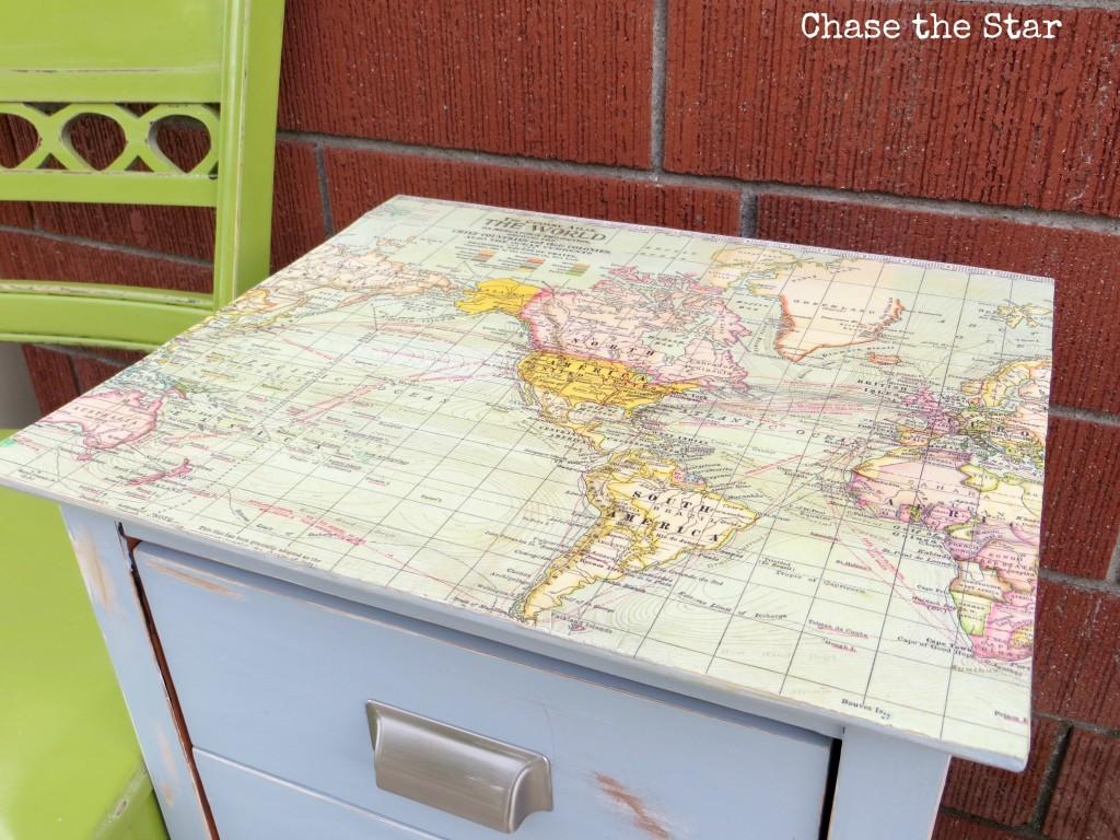 map, table, nighstand, mod podge, diy