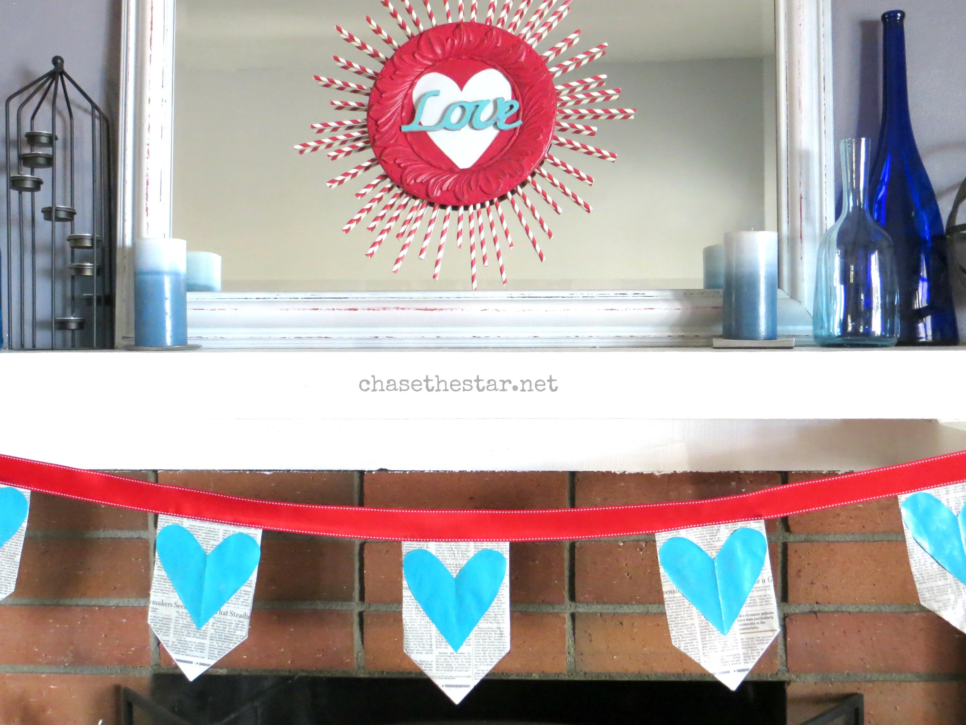 Valentines Day Banner, newspaper, mod podge