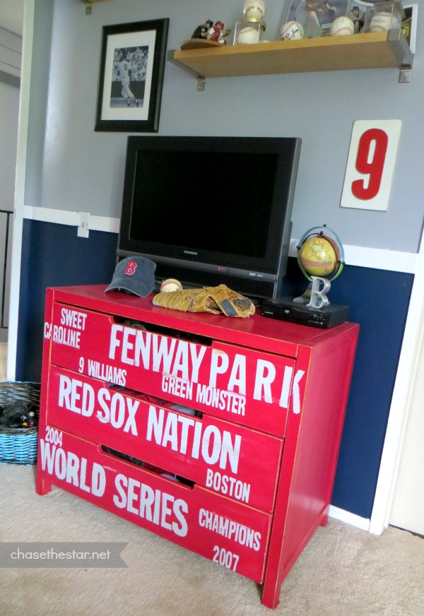 Red Sox Baseball Dresser  Ikea Hack  via Chase the Star  dresser  furniture. Red Sox Subway Style Baseball Dresser  Ikea Hack