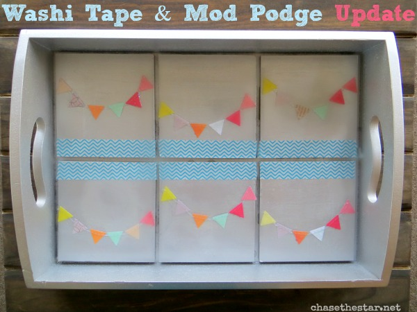Update a Thrift Store Tray with Washi Tape and Mod Podge #washi #modpodge #tray #thrift