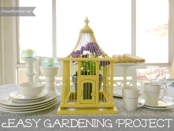 hellolifeonline.com #miraclegroproject #birdcage #gardening #yellow #decor