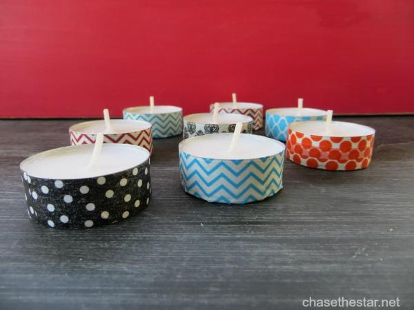 Washi Tape Tealights via Chasethestar.net #washi #tealight #craft #diy #cand