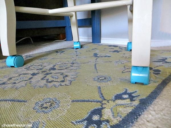 DIY Dining Chair to Desk Chair8 via hellolifeonline.com #diy #chair #backtoschool #casters #joannfabrics #homedepot #ikat #robertallenfabric #fabric