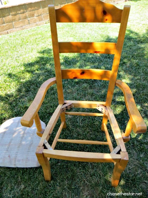 DIY Dining Chair to Desk Chair3 via hellolifeonline.com #diy #chair #backtoschool #casters #joannfabrics #homedepot #ikat #robertallenfabric #fabric