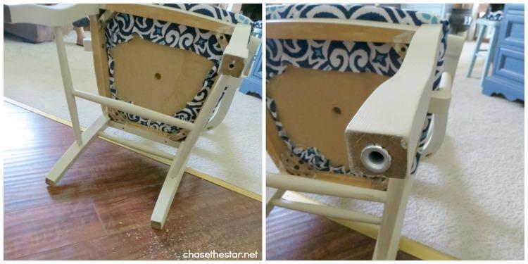 DIY Dining Chair to Desk Chair7 via hellolifeonline.com #diy #chair #backtoschool #casters #joannfabrics #homedepot #ikat #robertallenfabric #fabric