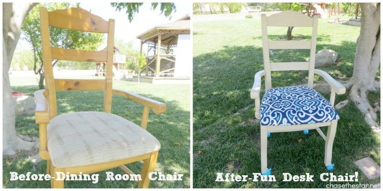 DIY Dining Chair to Desk Chair9 via hellolifeonline.com #diy #chair #backtoschool #casters #joannfabrics #homedepot #ikat #robertallenfabric #fabric