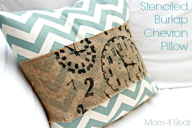 Stenciled Burlap Chevron Pillow by Mom4Real for Chase the Star