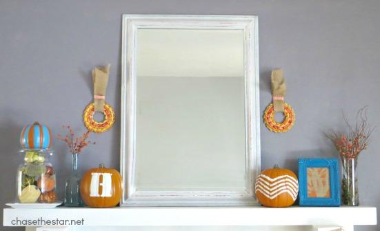 Fall Mantel 2013 top Fall Mantel via Chase the Star #fall #mantel #DIY #stencil #pumpkin #paint #teal #oramge #fallcolors