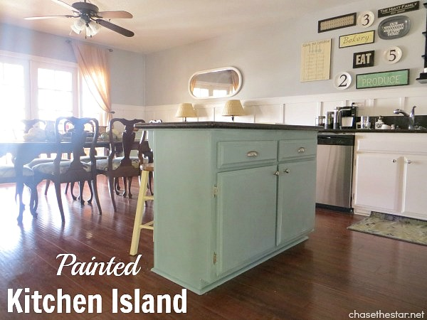 Painted Kitchen Island via Chase the Star #duckeggblue #anniesloan