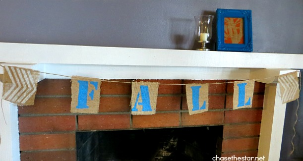 Fall Mantel Banner and Framed Art8 via Chase the Star hellolifeonline.com #decoArt #americanapaint #sponsored #fallDecor #fall #stencil