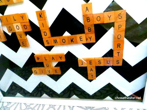 Scrabble Tile Art via Chase the Star #scrabble #art #DIY