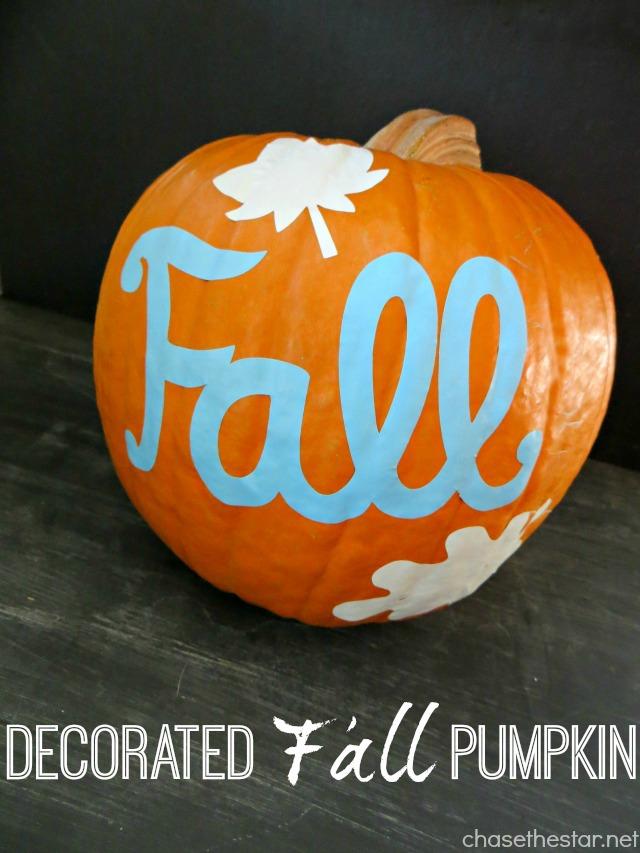 Decorated Fall Pumpkin via Chase the Star #pumpkin #cricut #vinyl #fall #autumn #Thanksgiving #craft #decor