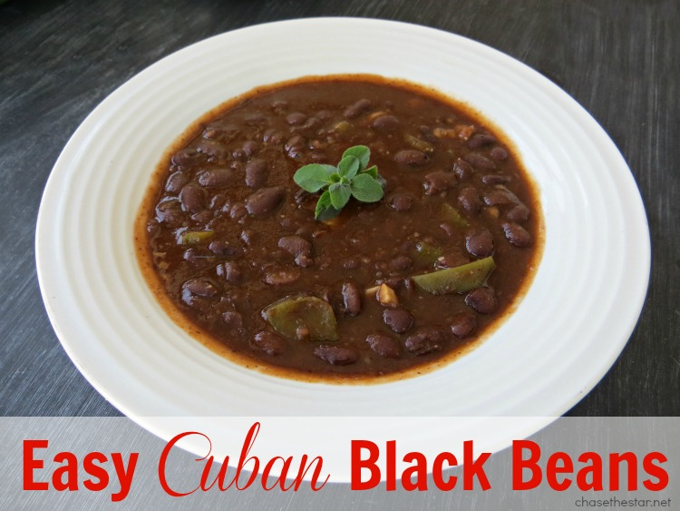 Easy Cuban Black Beans {delicious recipe} via Chase the Star #blackbeans #recipe #cubanfood #cuban