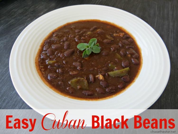 Easy Cuban Black Beans {delicious recipe} via Chase the Star #blackbeans #recipe #cubanfood #cuban