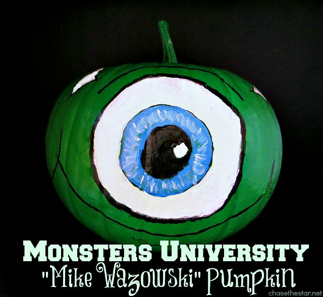Monsters University #MikeWazowski #Painted #Pumpkin# via Chase the Star #MonstersU