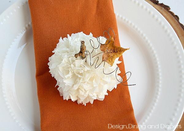 Thanksgiving-Place-Card-Idea-Tissue-Paper-Pumpking-Tutorial-via-@Tarynatddd