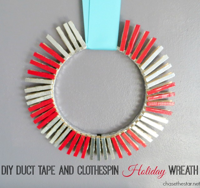 DIY DUCT TAPE AND CLOTHESPIN WREATH for the Holidays by Chase the Star #ducktape #ducttape #christmas #clothespin #diycraft