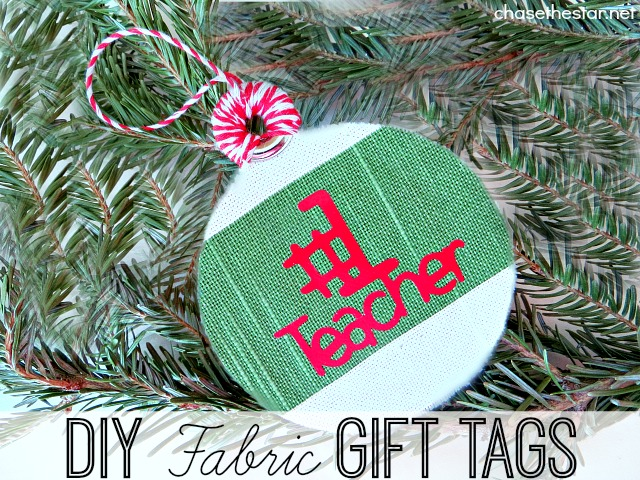 DIY Fabric Tags via Chase the Star #teacherGift #DIYcraft #handmade #Christmas #holidays #ornament #giftTag @onlinefabricstore