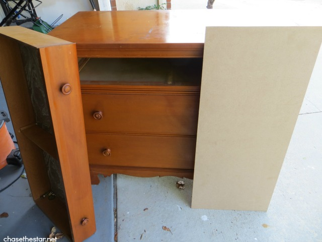 Dresser into a entertainment center via Chase the Star