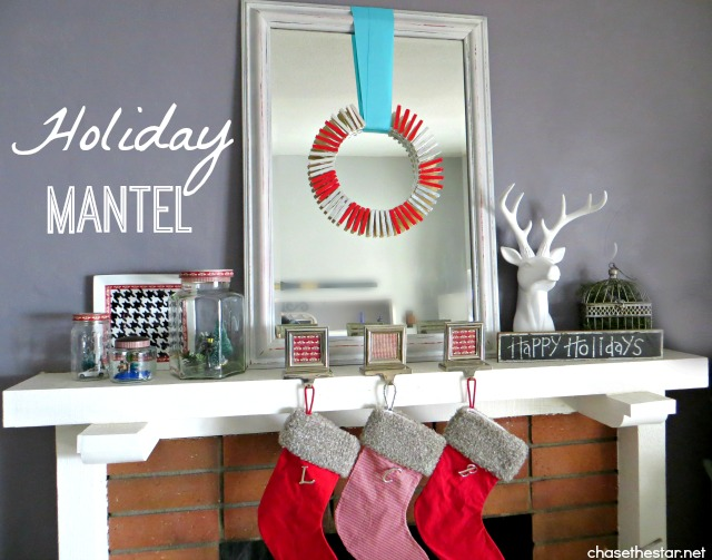Holiday Mantel 2013 via Chase the Star #mantel #redandwhite #holiday #christmas