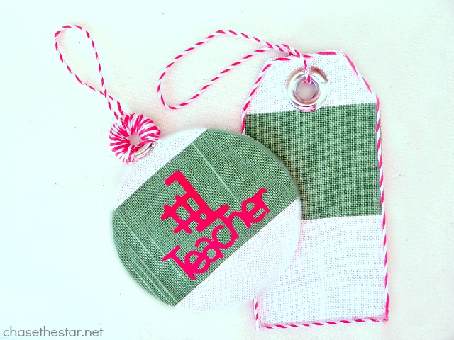 Make #easy DIY Fabric Tags via Chase the Star #teacherGift #DIYcraft #handmade #Christmas #holidays #ornament #giftTag @onlinefabricstore