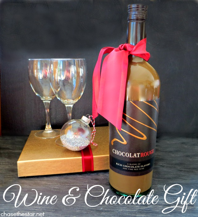 The perfect gift exchange present, Wine and Chocolate! #CheersToChocolate #ChocolatRouge #shop #cbias