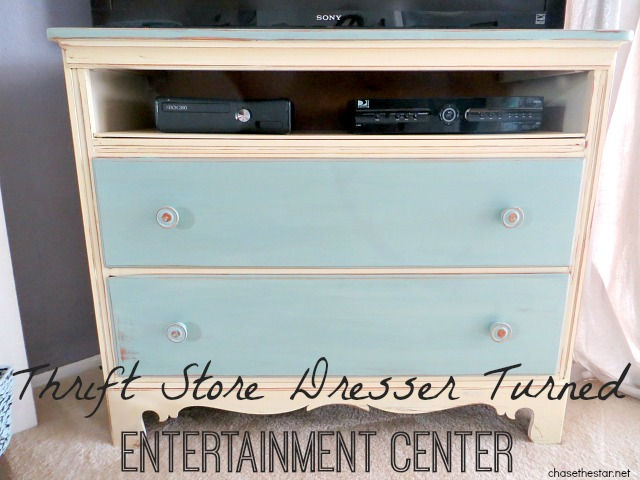 Thrift Store Dresser Turned Entertainment Center