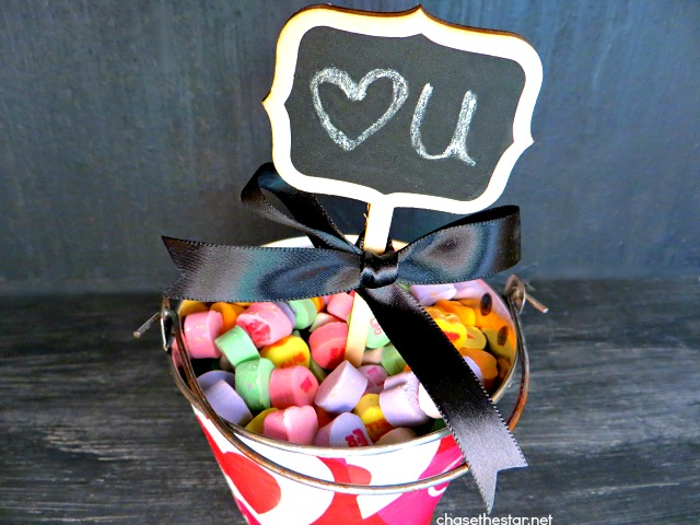 Easy Valentines Gift via Chase the Star for Saved By Love Creations #conversationHeart #candyHeart #valentine #modPodge #decoupage #chalkboard #diycraft #craft #gift #repurpose #bucket