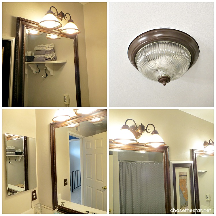 Master Bath Makeover via Chase the Star #sprayPaint #brassFixtures #lighting #after
