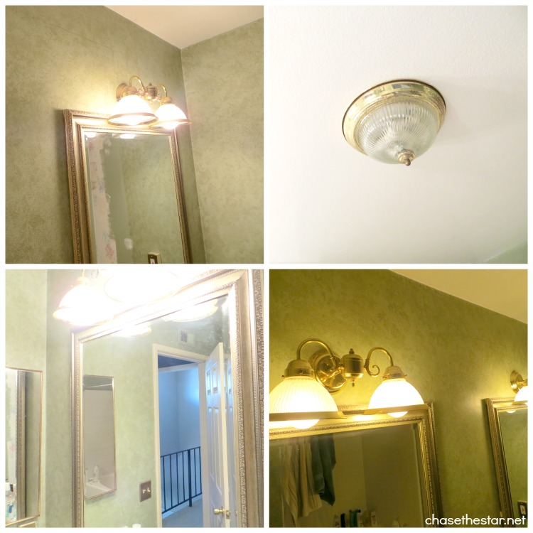 Master Bath Makeover via Chase the Star #sprayPaint #brassFixtures #lighting #before