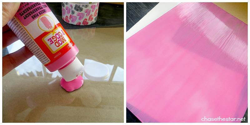 Mod Podge Sheer Colors for Glass to make a DIY DryErase Board via #ChaseTheStar #modpodge #plaidcrafts
