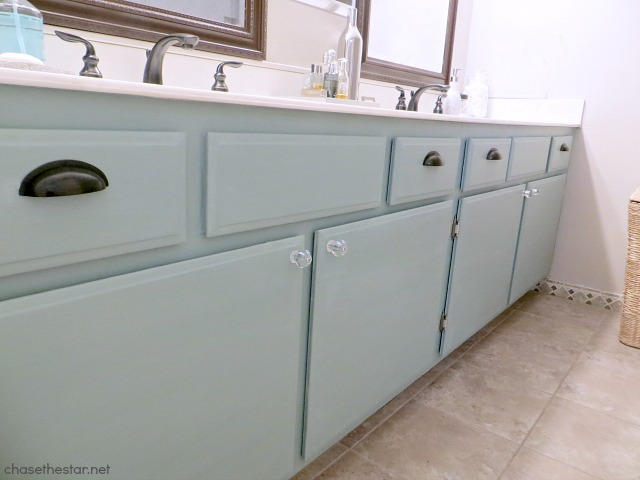 Painted Bathroom Cabinet via Chase the Star #duckEgg #chalkpaint #DIY #bathroomMakeover
