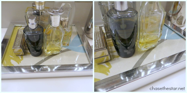 Turn a Frame In to a Perfume Tray via Chase the Star #repurpose #fabric
