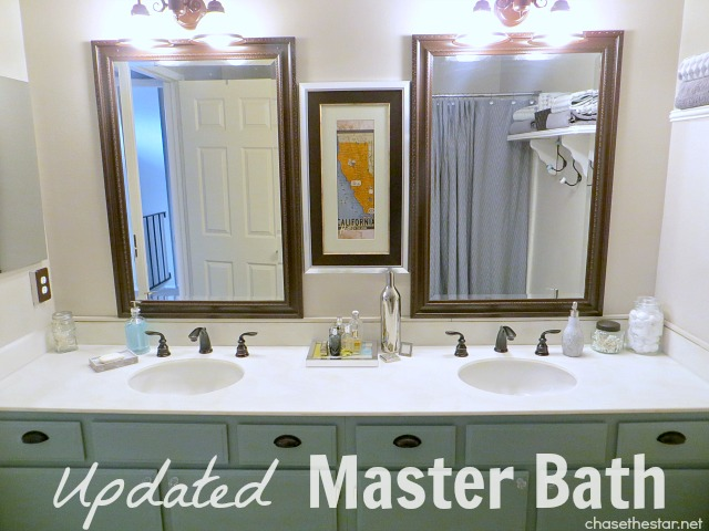 Updated Master Bath via Chase the Star. Simple updates like new faucets can make a big difference! #Pfister #NationalBuilderSupply #bathroom #DIY