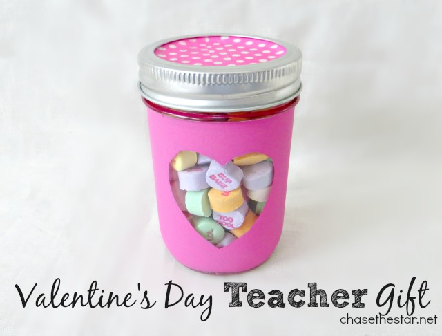 Valentine's Day Teacher Gift-This adorable and super easy to make mason jar gift is exactly what your kids teachers want in their classrooms! They love homemade presents, and they will never guess that this DIY cutie could be made with dollar store items.