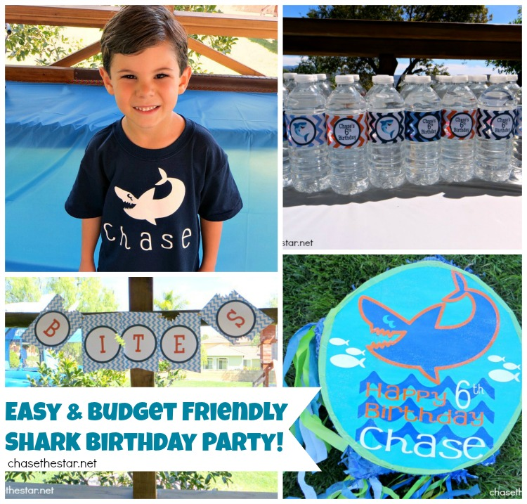 Easy and Budget Friendly Shark Birthday Party via Chase the Star #kidsparty #party #birthday #partyplanning #pinata #partyprintables #cricutexplore #diyparty #diypinata #tshirt #ironon