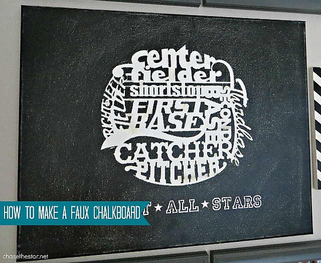How to Make a Faux Chalkboard via Chase the Star #chasethestar #chalkboard #DIY #hack #baseball #art #DIYWallArt
