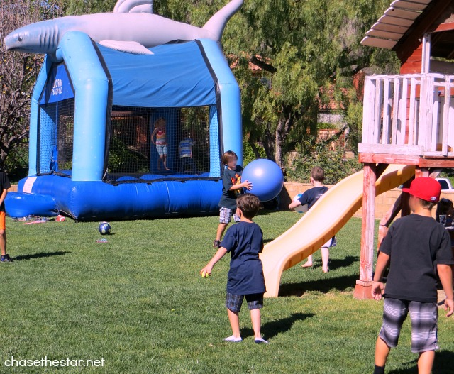 Huge #Shark #Jumper from Jump O Rama #BounceHouse via Chase the Star #kidsparty #Sharkparty #birthday