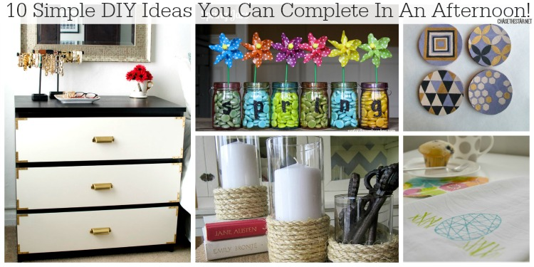 10 Simple DIY Ideas You Can Complete In An Afternoon via Chase the Star #diy #craft