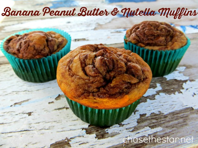 Banana Peanut Butter & Nutella Muffins via Chase the Star #recipe #muffins