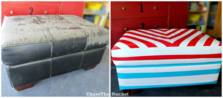 Duct Tape Covered Ottoman Before and After via Chase the Star