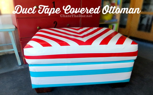 Duct Tape Covered Ottoman via Chase the Star @duckbrand #ducttape #ducttapefurniture #furnituremakeover #ottoman #upcycle
