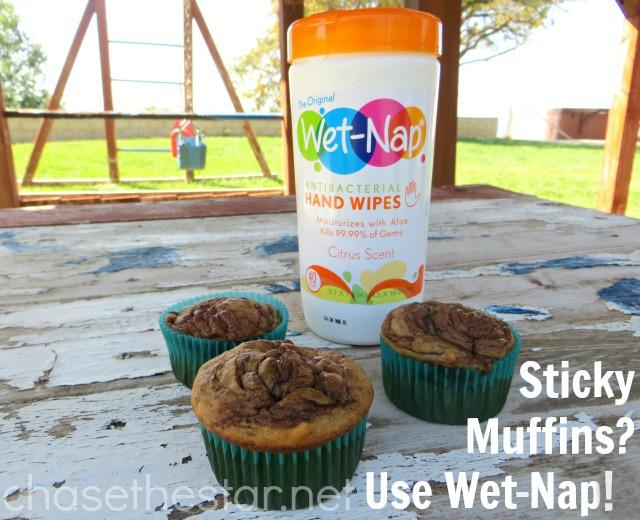 Sticky Muffins Use Wet-Nap Hand Wipes! #showusyourmess #PMedia #ad
