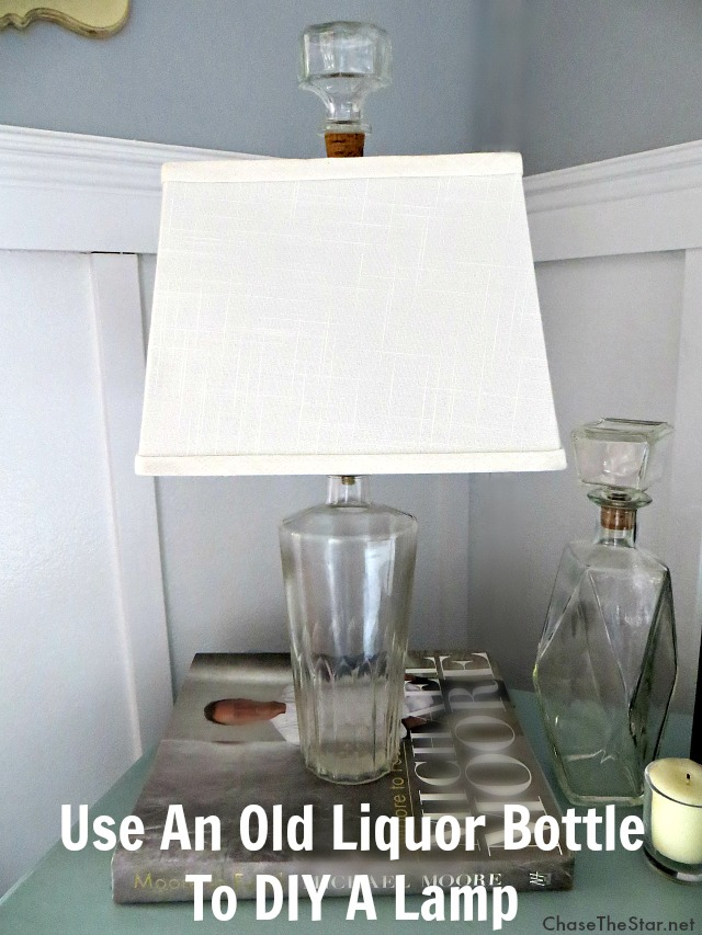 Use an old thrift store liquor bottle to DIY a Lamp! #LEDsavings #CollectiveBias #shop