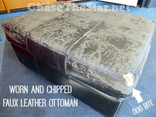 Worn Faux Leather Ottoman in need of some serious help. via Chase the Star #chasethestar